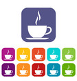 cup of hot drink icons set vector image vector image
