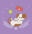 cute little dog mascot with dish and ball vector image