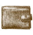 engraving of wallet vector image