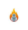 fire robot logo icon design vector image vector image