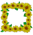 flower decorative frame with sunflowers vector image