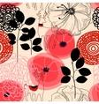 Flowers and deers seamless pattern vector image