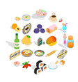 food with vitamin icons set isometric style vector image vector image