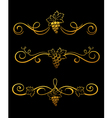 golden grape borders vector image vector image