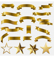 golden ribbons and stars set transparent vector image vector image