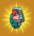 hand grenade heart vector image vector image
