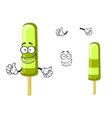 Happy green cartoon frozen ice cream vector image