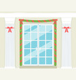 holiday doorway with marble columns and garland vector image vector image