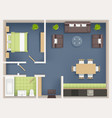 interior plan top view realistic appartment vector image vector image