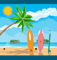 landscape of palm tree on beach surfboard vector image vector image