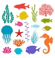 Marine life set of icons objects and sea animals vector image