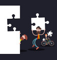 men with puzzle pieces on black background vector image vector image