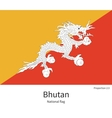 National flag of Bhutan with correct proportions vector image vector image