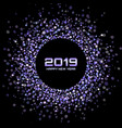 new year 2019 card confetti purple background vector image