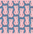 pattern with cute pigs on blue background vector image vector image