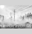 power line in countryside realistic vector image vector image