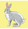 Retro style hand drawn rabbit vector image