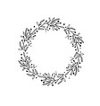 rustic and floral doodle wreath hand drawn vector image