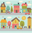 seamless pattern with street of small town vector image vector image