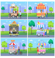 set of mobile fast street food kiosks in city park vector image