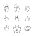 Set of two hands icons Handshake clapping vector image