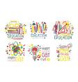 set outline logos for celebrating teachers day vector image vector image