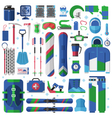 Snowboard and Ski Equipment Set vector image vector image