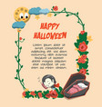 the floral halloween cute character frame vector image