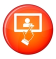 Touch screen tablet click icon flat style vector image vector image