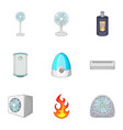 ventilation icons set cartoon style vector image vector image