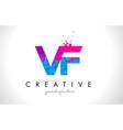 vf v f letter logo with shattered broken blue vector image vector image