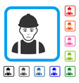 worker framed unhappy icon vector image vector image