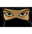 young woman wearing a black burqa vector image vector image