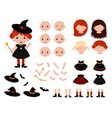adorable little witch constructor halloween vector image vector image