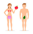 apple adam and eve silhouettes vector image vector image