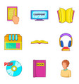 archive icons set cartoon style vector image vector image