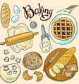 beautiful hand-draw color set of baking vector image vector image