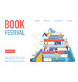 book festival landing page poster vector image vector image