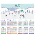 calendar 2020 with children vector image vector image