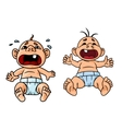 Cartoon crying babies with open mouths vector image vector image