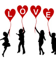 Children silhouettes with heart balloons and word vector image vector image