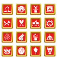 circus icons set red square vector image
