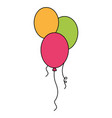 colored balloons decoration ornament party vector image