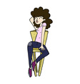 comic cartoon woman posing on chair vector image vector image