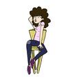 comic cartoon woman posing on chair vector image vector image