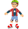 cute boy cartoon playing roller skates vector image vector image