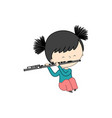 cute little girl playing flute isolated on white vector image vector image