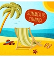 Cute summer poster - beach chair palm hat and vector image vector image