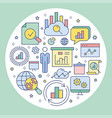 data analysis circle template flat icons for vector image vector image