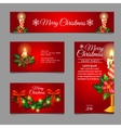 Different red cards with Christmas burning candles vector image vector image